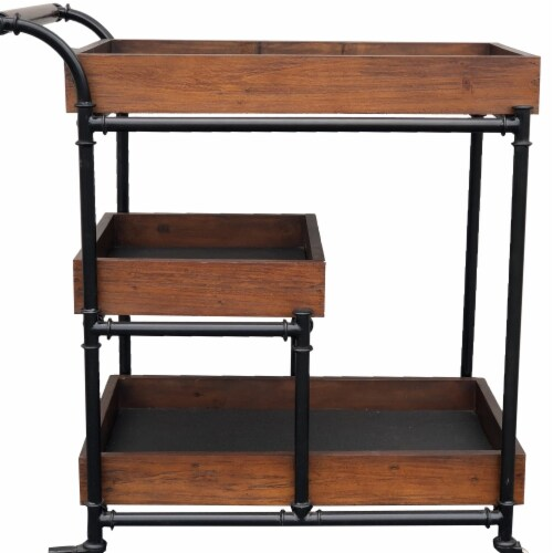 AFD Home 12018178 Industrial Design Wood Trolly Service Cart, Brown & Black Perspective: front
