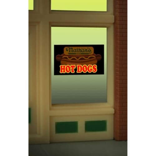 Miller Engineering MIE9100 O & Ho Nathans Hot Dog Window Sign Perspective: front