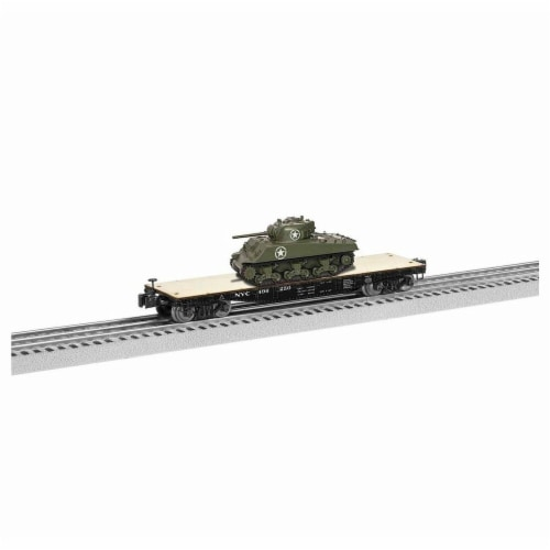 Lionel LNL1926711 40 ft. O Flatcar Model Train with Sherman Tank NYC No.496250 Perspective: front