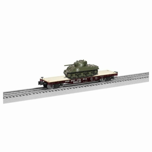 Lionel LNL1926721 40 ft. O Flatcar Model Train with Sherman Tank PRR No.925148 Perspective: front