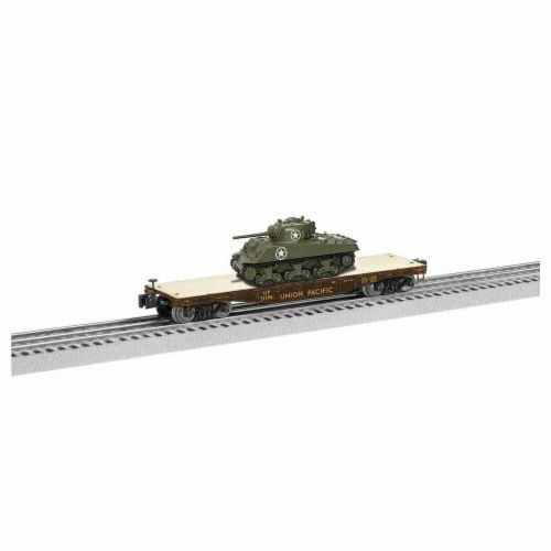 Lionel LNL1926742 40 ft. O Flatcar Model Train with Sherman Tank UP No.51196 Perspective: front