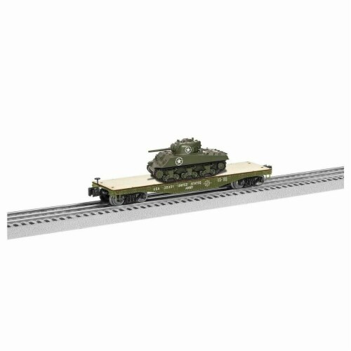 Lionel LNL1926751 40 ft. O Flatcar Model Train with Sherman Tank US Army No.35351 Perspective: front