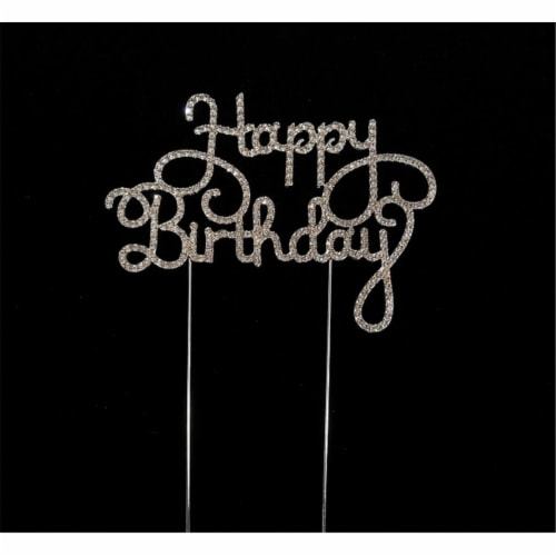 Tian Sweet 33014-HB2 Scripted Happy Birthday Rhinestone Cake Toppers - Silver Perspective: front