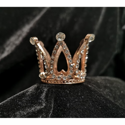 Tian Sweet 34009-RG 0.6 oz Small Rhinestone Crown Cake Topper - Rose Gold Perspective: front
