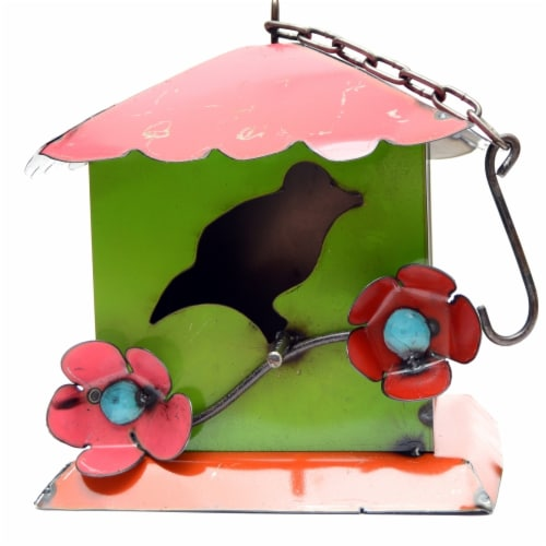 Rustic Arrow Green & Purple Hanging Birdhouse Perspective: front