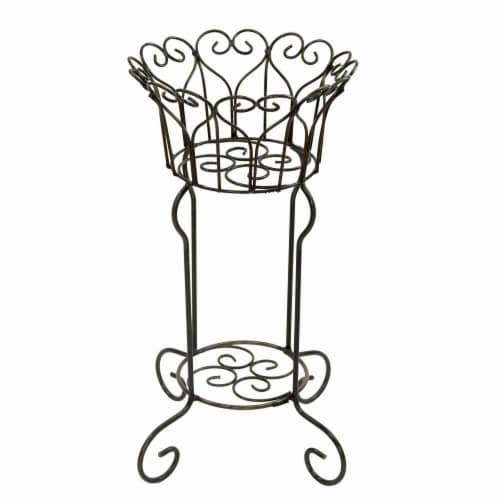 Rustic Arrow 11045 Round Heart Basket Plant Stand - Medium Perspective: front