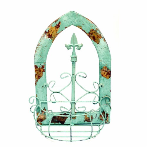 Rustic Arrow 12041 Gothic Window Basket - Turquoise Perspective: front