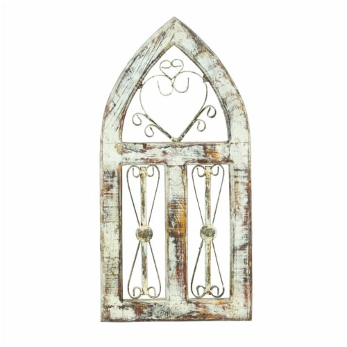 Rustic Arrow 12218 Church Window 3 Screens with Iron Perspective: front