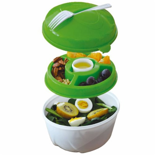 Salad Bowl & Lunch Box Set - Leak Proof - BPA-Free -6 Pieces Set -Large - Green Perspective: front