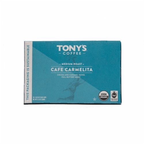 Tony's Coffee Cafe Carmelita Medium Roast Coffee Cups 10 Count Perspective: front