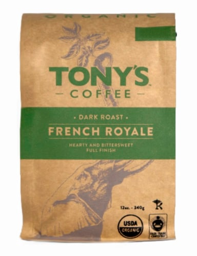 Tony's Coffee Organic French Royale Dark Roast Coffee Perspective: front