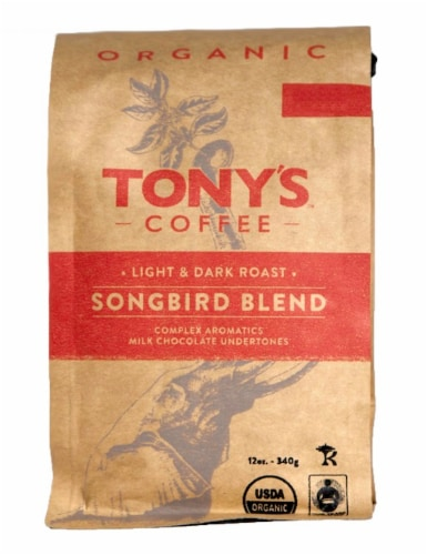 Tony's Coffee Organic Songbird Blend Light & Dark Roast Coffee Perspective: front