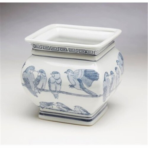 AA Importing 59835 Square Blue & White Planter Perspective: front