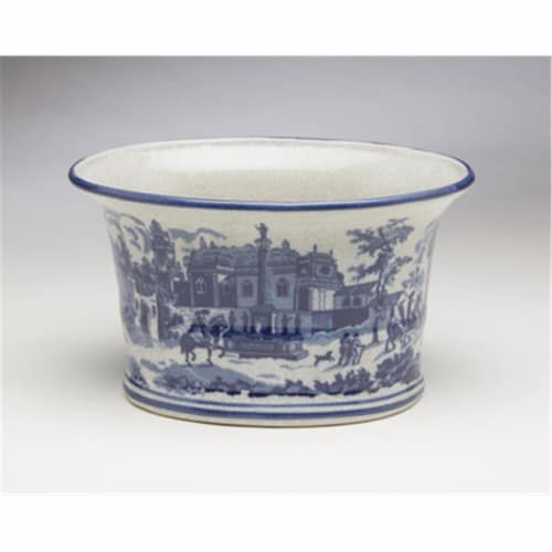 AA Importing 59846 Town Scene Toile Design Planter, Blue & White Perspective: front