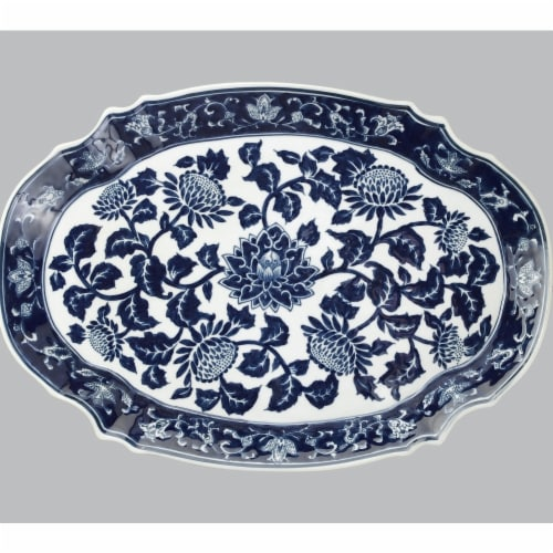 AA Importing 59713A 18 in. Platter, Blue & White Perspective: front