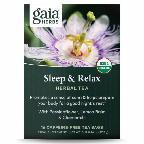 Gaia Herbs  Sleep and Relax Herbal Tea Perspective: front