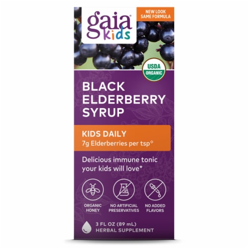 Gaia Kids Black Elderberry Syrup Perspective: front