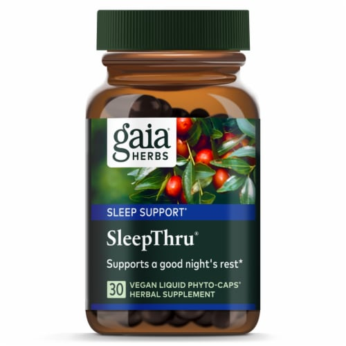 Gaia Herbs SleepThru Dietary Supplement Perspective: front