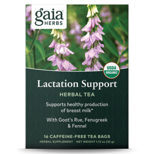 Gaia Herbs Organic Lactation Support Caffeine Free Tea Bags Perspective: front