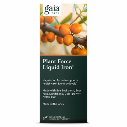 Gaia Herbs  DailyWellness™ PlantForce™ Liquid Iron Perspective: front
