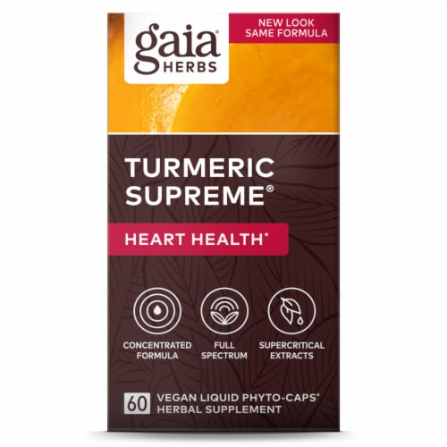 Gaia Herbs Turmeric Supreme Heart Liquid Phyto-Caps Perspective: front