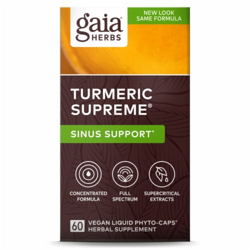 Gaia Herbs Turmeric Supreme Allergy Liquid Phyto-Caps Perspective: front
