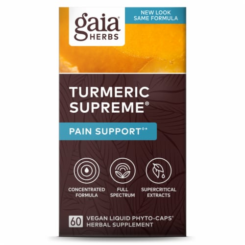 Gaia Herbs Turmeric Supreme Pain Liquid Phyto-Caps Perspective: front