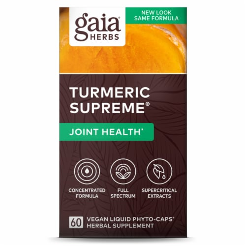 Gaia Herbs® Turmeric Supreme Joint Liquid Phyto-Caps Perspective: front