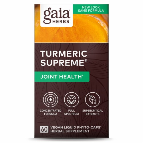 Gaia Herbs Turmeric Supreme Joint Dietary Supplement Liquid Phyto-Caps Perspective: front