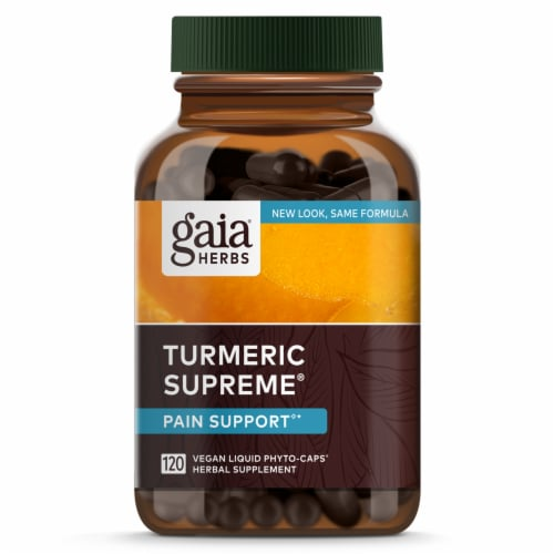 Gaia Herbs Curcumin Synergy Turmeric Supreme Pain Dietary Supplement Perspective: front