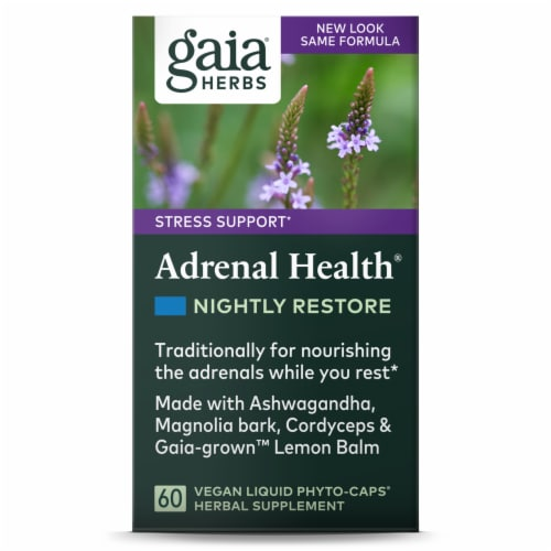 Gaia Herbs Adrenal Health Nightly Restore Liquid Phyto-Caps Perspective: front