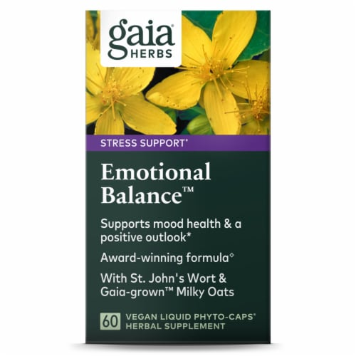 Gaia Herbs Stress Support Emotional Balance Vegan Liquid Phyto-Caps Perspective: front