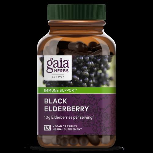 Gaia Herbs Black Elderberry Liquid Phyto Capsules, 120 Vegetarian Capsules Perspective: front