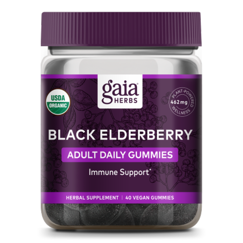 Gaia Herbs Black Elderberry Adult Daily Immune Support Gummies Perspective: front