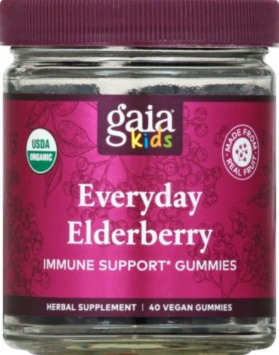 GaiaKids Black Elderberry Kids Daily Gummies Perspective: front