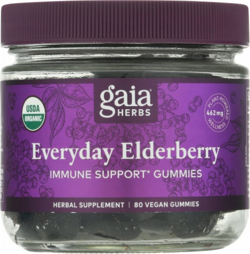 Gaia Herbs Everyday Elderberry Immune Support Vegan Gummies Perspective: front