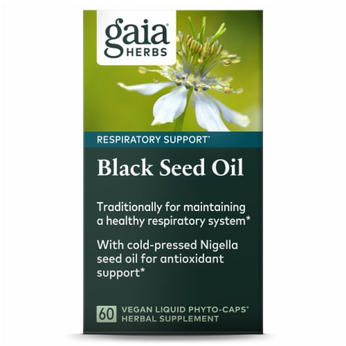 Gaia Herbs Black Seed Oil Respiratory Support Supplement Perspective: front