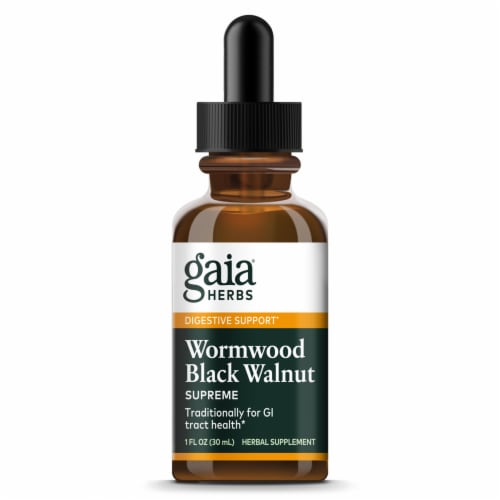 Gaia Herbs Wormwood Black Walnut Supreme Herbal Supplement Perspective: front