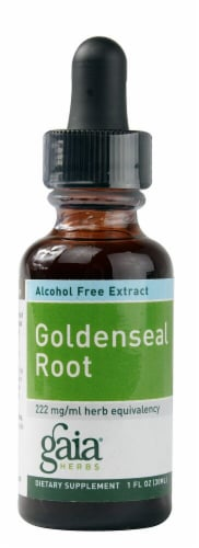 Gaia Herbs Goldenseal Root Alcohol-Free Dietary Supplement Extract Perspective: front