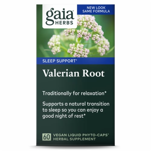 Gaia Herbs Valerian Root Dietary Supplement Perspective: front