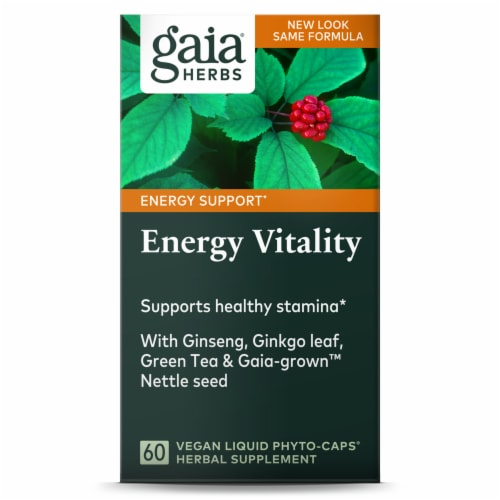 Gaia Herbs Daily Wellness Energy Vitality Dietary Supplement Perspective: front