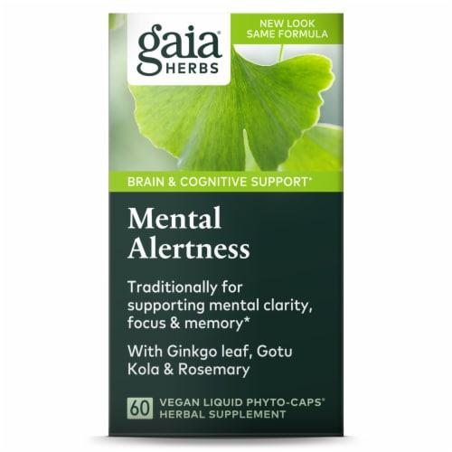 Gaia Herbs Mental Alertness Supplement Liquid Phyto-Caps Perspective: front