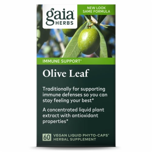 Gaia Herbs Olive Leaf Dietary Supplement Liquid Phyto-Caps Perspective: front