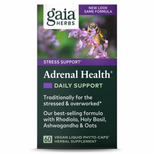Gaia Herbs Stress Support Adrenal Health Liquid Phyto-Capsules Perspective: front