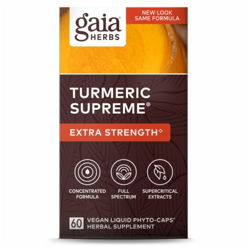 Gaia Herbs Turmeric Supreme Extra Strength Dietary Supplement Liquid Phyto-Caps Perspective: front