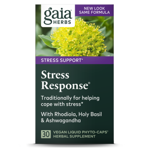 Gaia Herbs Stress Support Stress Response Herbal Supplement Liquid Capsules Perspective: front