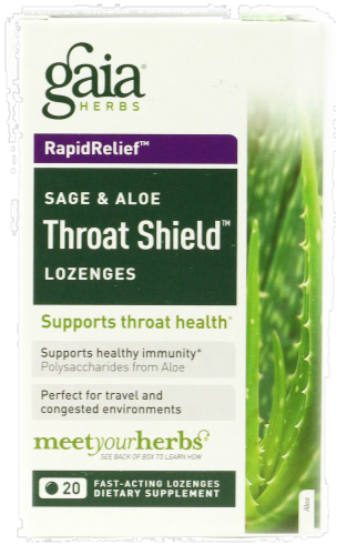 Gaia Sage & Aloe Throat Lozenges Perspective: front