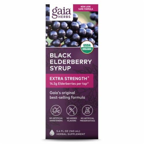 Gaia Herbs  Organic Black Elderberry Syrup Perspective: front