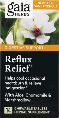 Gaia Herbs Reflux Relief Double Strength Formula Tablet Bottles Perspective: front