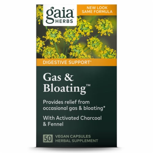Gaia Herbs Gas & Bloating Rapid Relief Capsules Perspective: front